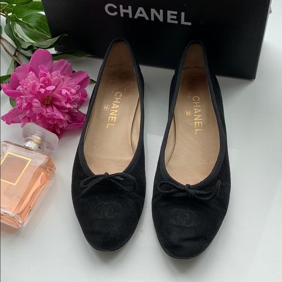 CHANEL Shoes - 💕FLASH SALE💕Chanel Black Suede flats Sz 8.5